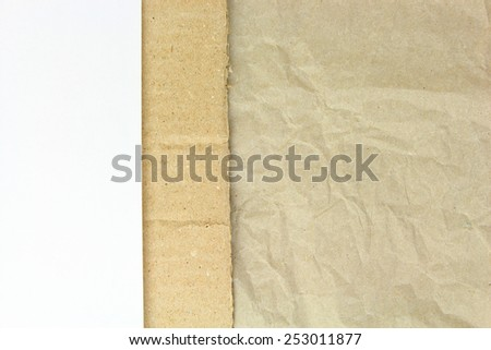 Recycled crumpled paper,carton and white blank papper background  - stock photo