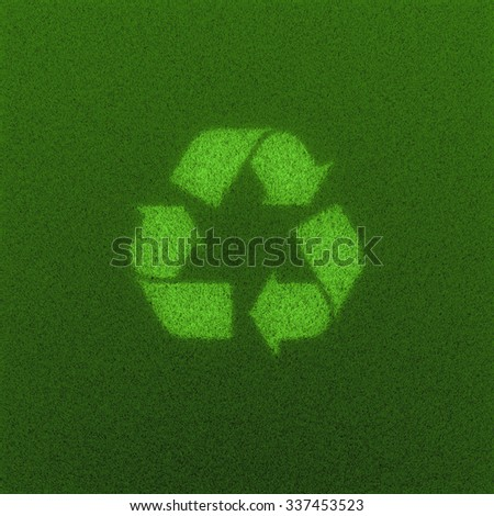 Recycled grass field / 3D render of recycling symbol grown from grass - stock photo