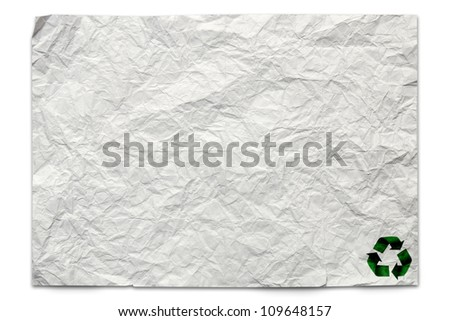 Recycled logo on paper craft stick on old paper background - stock photo