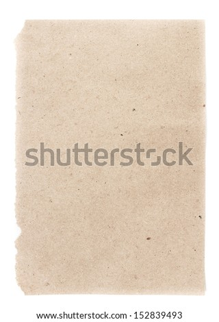 Recycled natural beige  paper  sheet texture or background with Torn edge.  Old craft paper texture. - stock photo