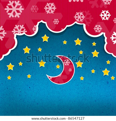 recycled paper craft background  with clouds, the new moon and the stars - stock photo