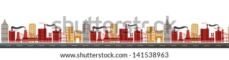 recycled paper craft stick on background, City ,Industry, town. - stock photo