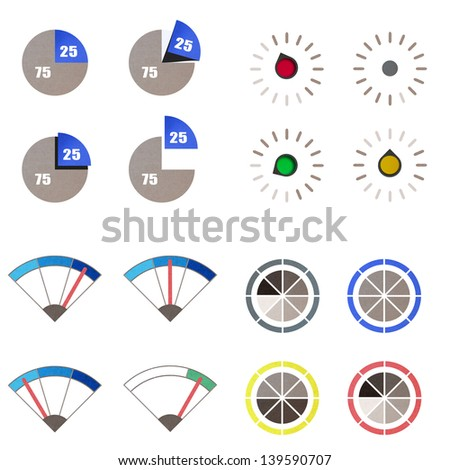 recycled paper craft stick on white background, concept of extreme acceleration velocity and power with a moving gage. - stock photo