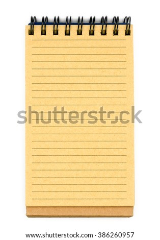 Recycled paper notebook, opened on a blank sheet  - stock photo
