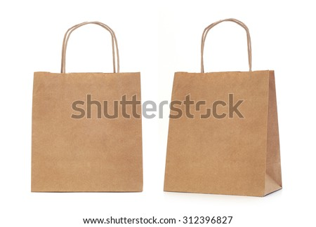 Recycled paper shopping bags on white background - stock photo