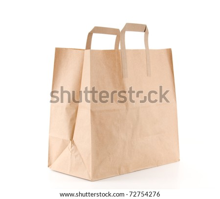 Recycled shopping bag isolated on white background. - stock photo