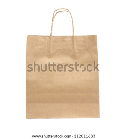 Recycled Shopping paper bag isolated on white background - stock photo