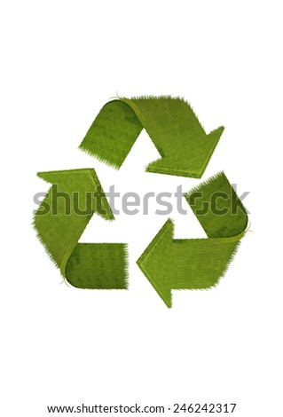 recycled symbol made of grass - stock photo