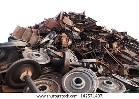 recycled train wheels - stock photo