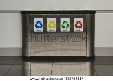 Recycling and garbage bins - stock photo