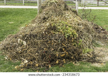 Recycling at a glance: Compost heap, with remains of vegetable and flower garden, beginning to decompose in autumn on a farm in northern Illinois - stock photo