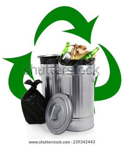 Recycling bins isolated on white, Recycle concept - stock photo