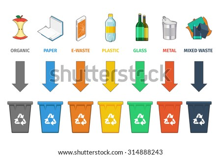 Recycling bins separation - stock photo