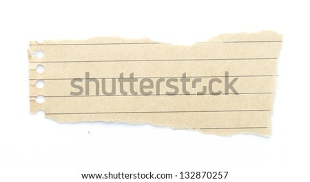 recycling brown lined paper scrap isolated on white - stock photo