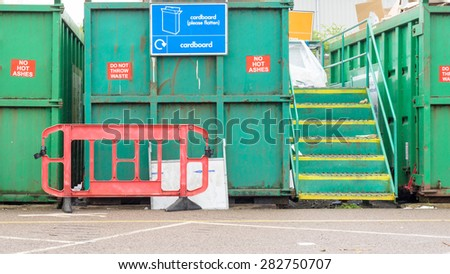 Recycling container at Suffolk recycling centre - stock photo