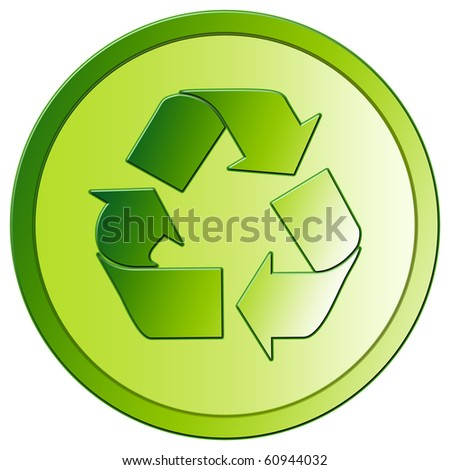Recycling - Green Eco Button - stock photo