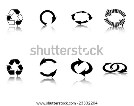 recycling icon black contour - stock photo