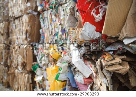 recycling of paper and cardboard for reuse - stock photo