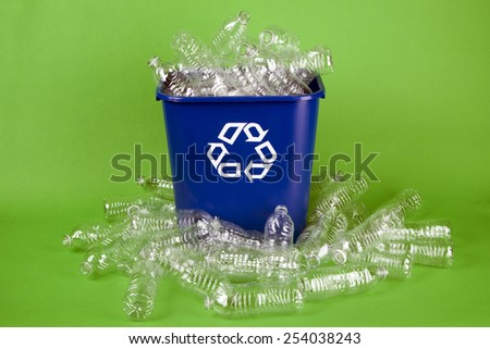 Recycling plastic water bottles - stock photo