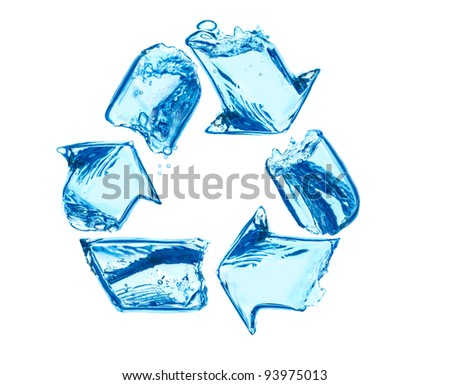 recycling sign made of water splashes - stock photo