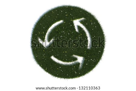 "Recycling sign: ""Series symbols out of realistic grass"" - stock photo"