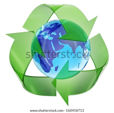 Recycling symbol encompassing the planet earth - stock photo
