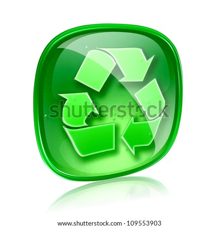 Recycling symbol icon green glass, isolated on white background. - stock photo