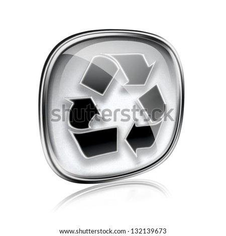 Recycling symbol icon grey glass, isolated on white background. - stock photo