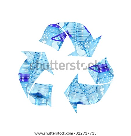 Recycling symbol made of plastic bottles, PET - stock photo