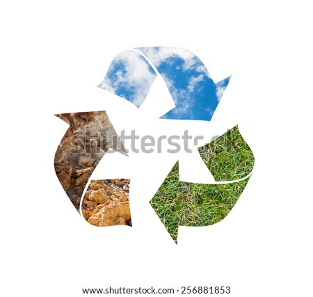 Recycling symbol made of sky grass and soil - stock photo