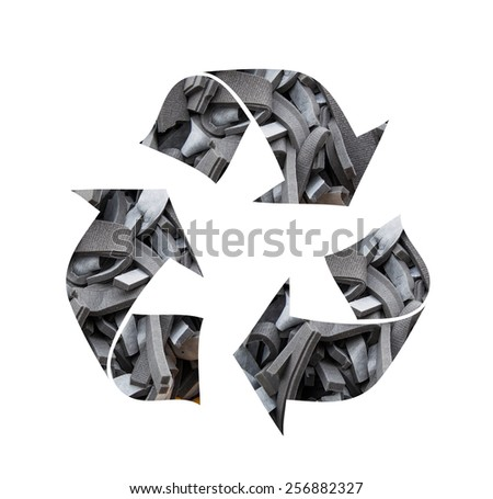 Recycling symbol made of waste sponges - stock photo
