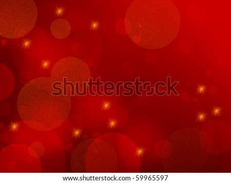 Red abstract background - elegant design with circles and stars, also suitable for Christmas themes - stock photo