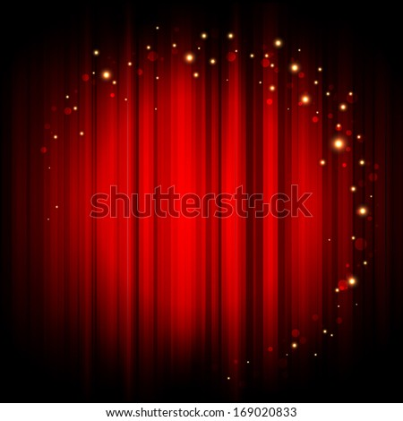 Red abstract background with gold lights - stock photo