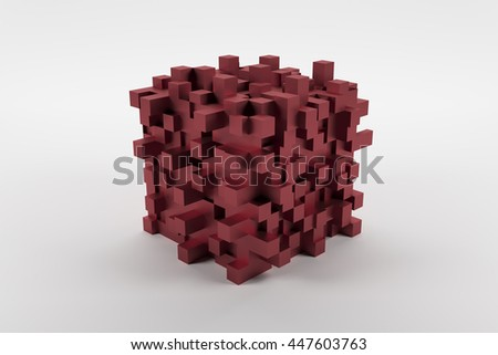 Red abstract modern cube with cubic knots on white background 3D rendering - stock photo