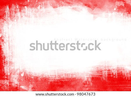 RED Abstract watercolor background - stock photo