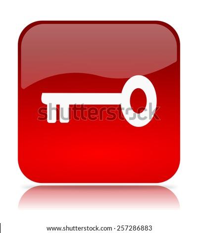 Red Access Key Icon Illustration on White Background - stock photo