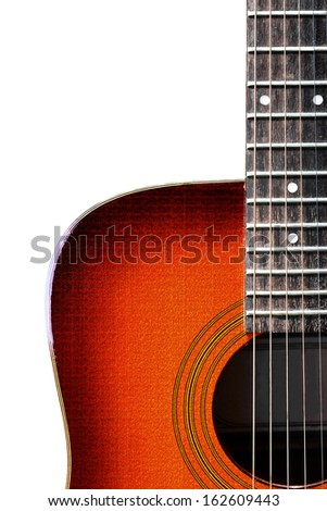 Red acoustic guitar isolated on white - stock photo