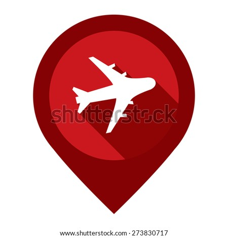 Red Aeroplane, Airplane, Airport, Landing Field, or Logistic Map Pointer Icon Isolated on White Background  - stock photo