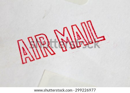 red air mail stamp - stock photo