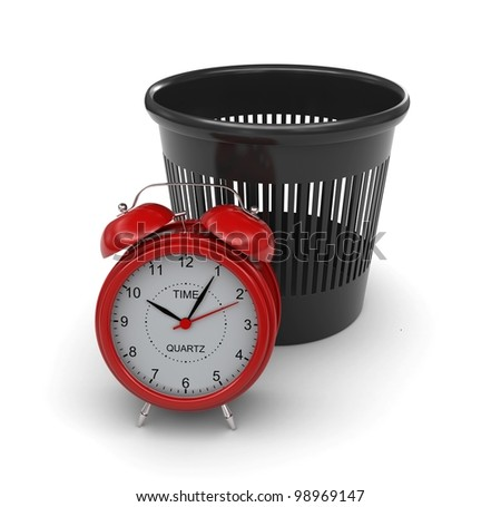 Red alarm clock next to the trash can. 3d rendering - stock photo