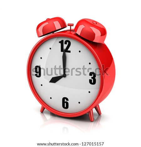 Red alarm clock on a white backdrop - stock photo