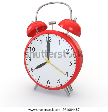 Red alarm clock on isolated background show time 8:00 - stock photo