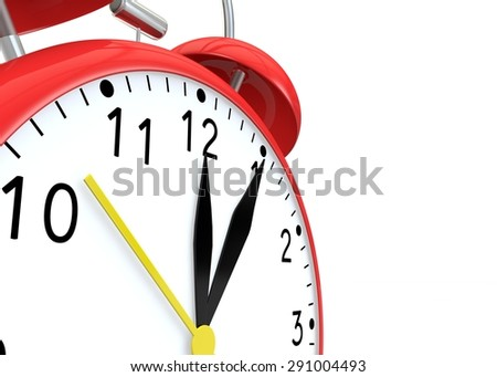 Red alarm clock on isolated background show time 12:05 - stock photo