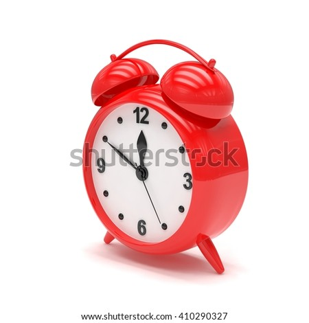 red alarm clock on white. 3d rendering. - stock photo