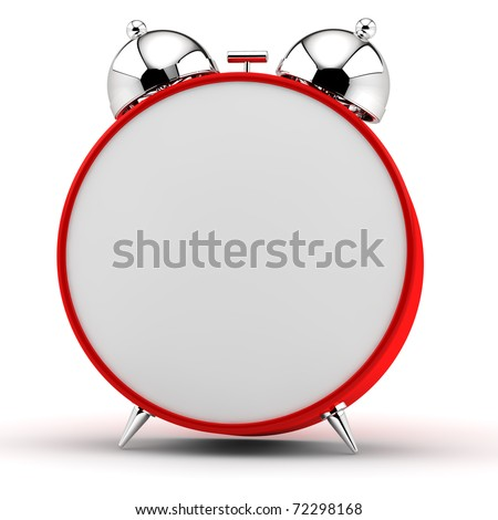 Red alarm clock with an empty dial - stock photo