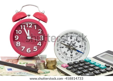 Red alarm clock with compass ,coins and Calculator on money banknotes Euro and Dollars,concept of business planning and finance and savings - stock photo