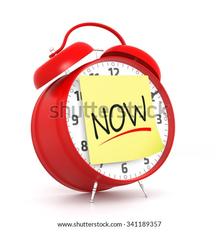 Red alarm clock with NOW yellow sticky. 3D Rendering - stock photo