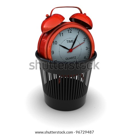 Red Alarm in the black bin. 3D rendering - stock photo
