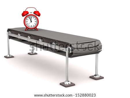 Red alarmer on the assembly line. White background. - stock photo
