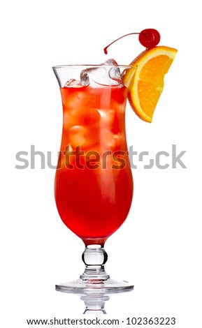 Red alcohol cocktail with orange slice isolated on white background - stock photo
